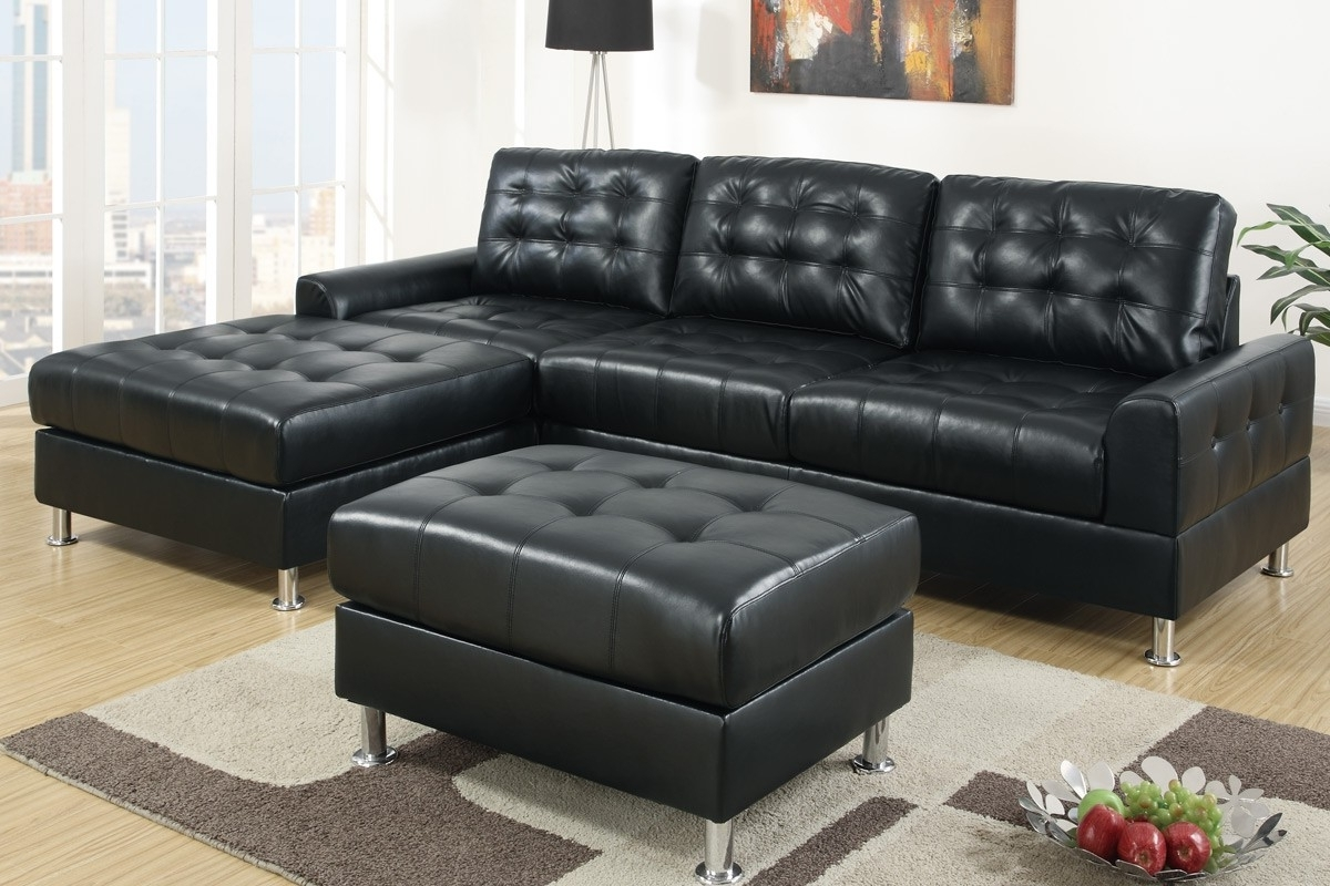 Modern Classic Black Bonded Leather Sectional Sofa With Reversible In 2019 Black Leather Sectionals With Ottoman (View 12 of 20)