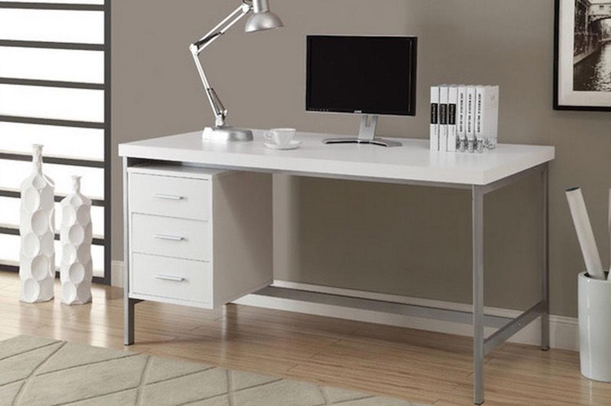 Modern Computer Desk White Wood Table Home Office Workstation Throughout 2018 White Computer Desks (View 8 of 20)