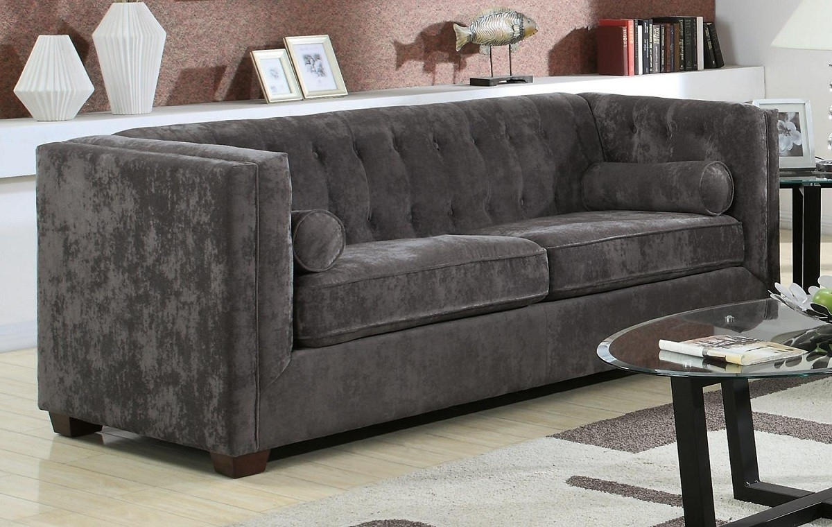 Modern Contemporary Charcoal Grey Velvet Sofa Lowest Price – Sofa Inside Famous Charcoal Grey Sofas (View 14 of 20)