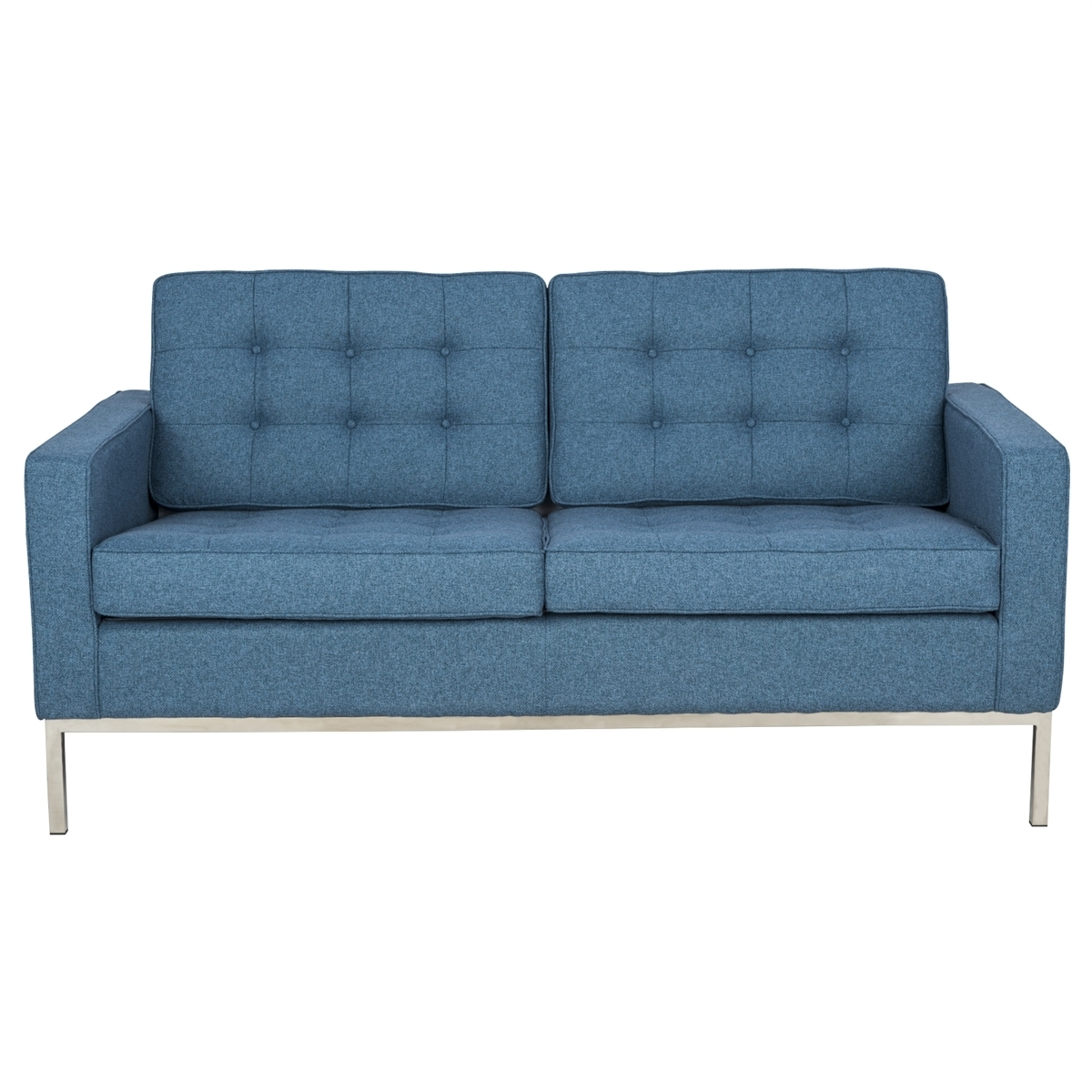 Modern Florence Style Loveseat Sofa In Blue Tweed Cashmere Wool For Widely Used Florence Sofas And Loveseats (View 9 of 20)