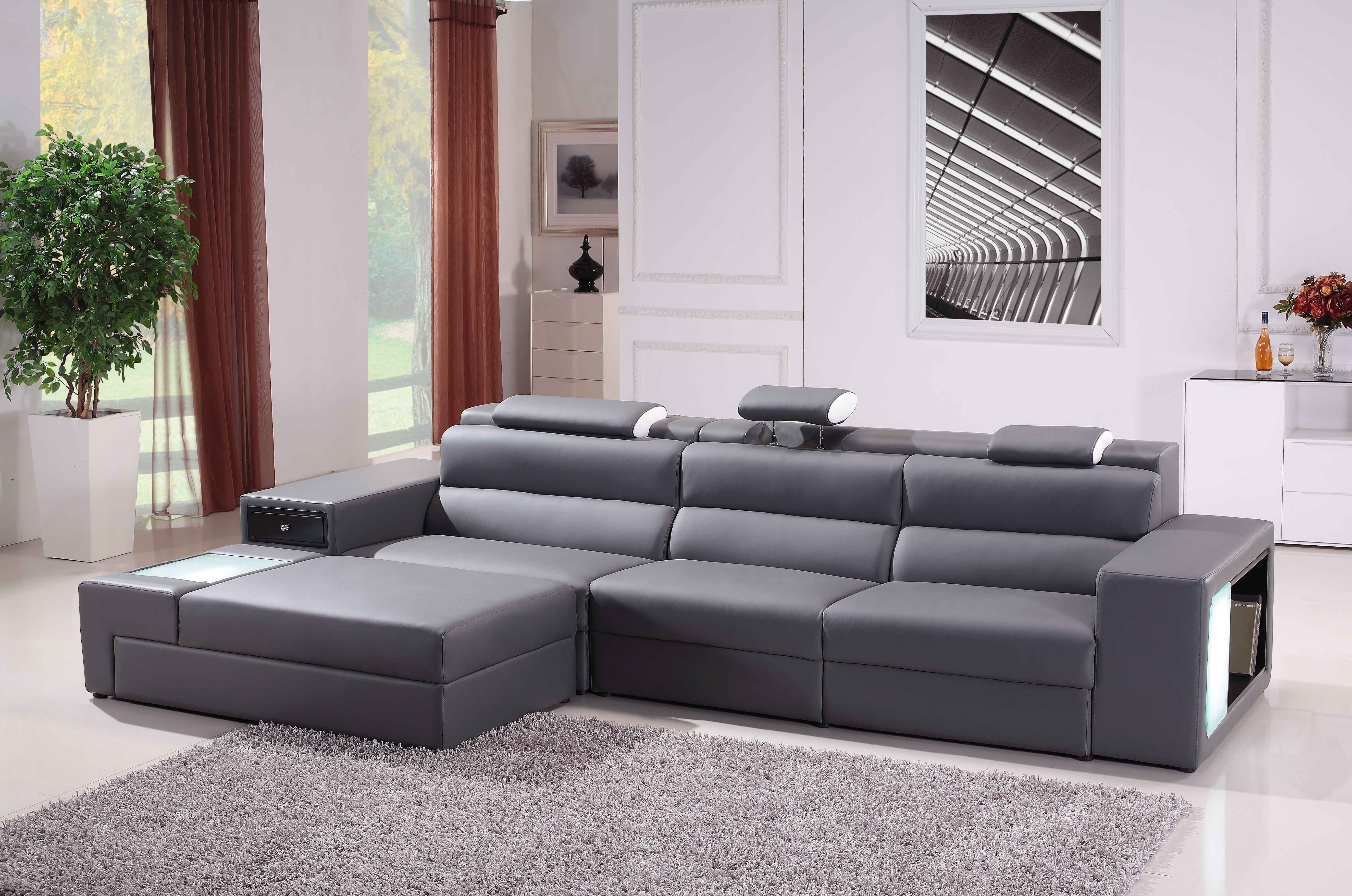 Modern Grey Leather Sofa Sam Levitz Furniture For Gray Decorations Intended For Widely Used Sam Levitz Sectional Sofas (View 6 of 20)