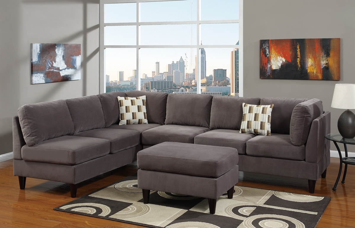 Modern Living Room Area With Grey Suede L Shaped Sectional Living Pertaining To Well Liked Living Spaces Sectional Sofas (View 13 of 20)