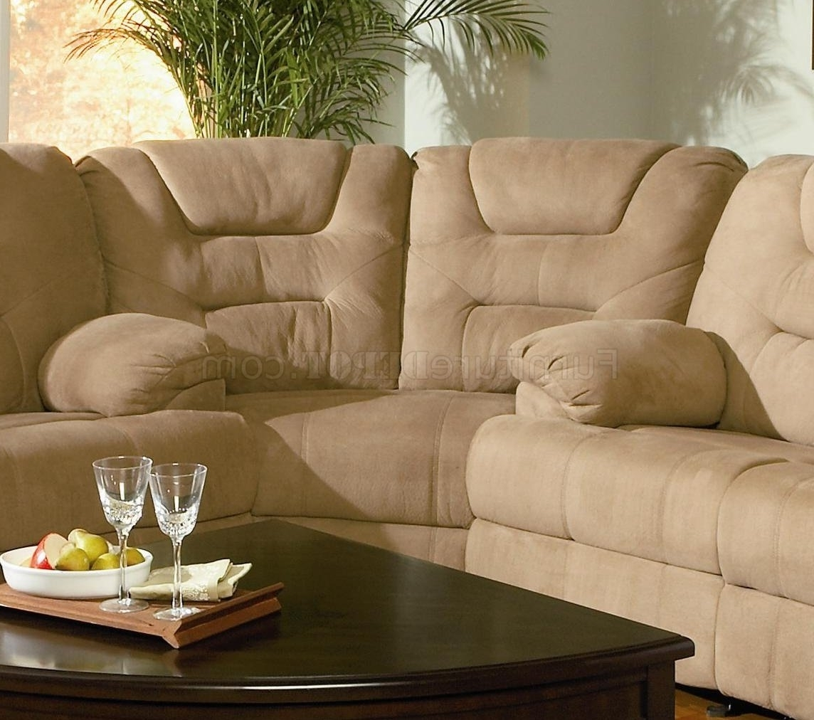 Modern Microfiber Reclining Sectional Sofa 600351 Mocha Within 2019 Sofas With High Backs (View 9 of 20)