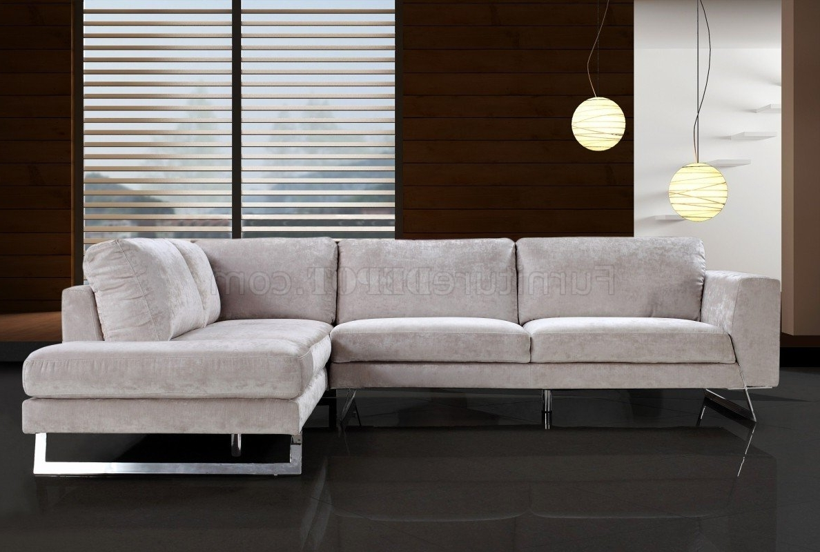 Modern Microfiber Sectional Sofas Throughout Popular Beige Microfiber Modern Sectional Sofa W/chrome Metal Legs (View 3 of 20)