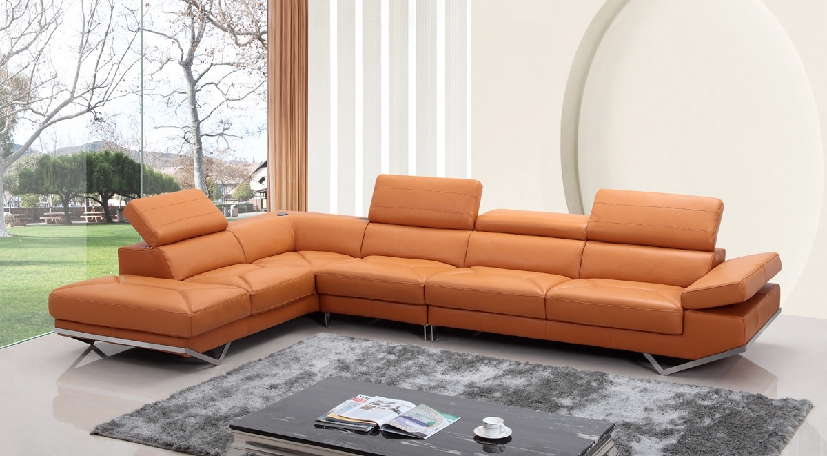 Modern Orange Leather Sectional Sofa With Regard To 2018 Quebec Sectional Sofas (View 6 of 20)