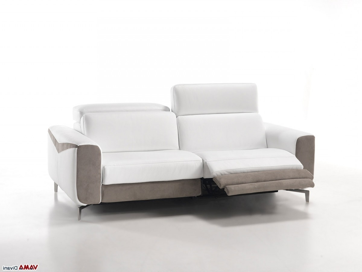 Modern Reclining Leather Sofas Within Well Liked Sofa: Astonishing White Leather Reclining Sofa White Reclining (View 11 of 20)