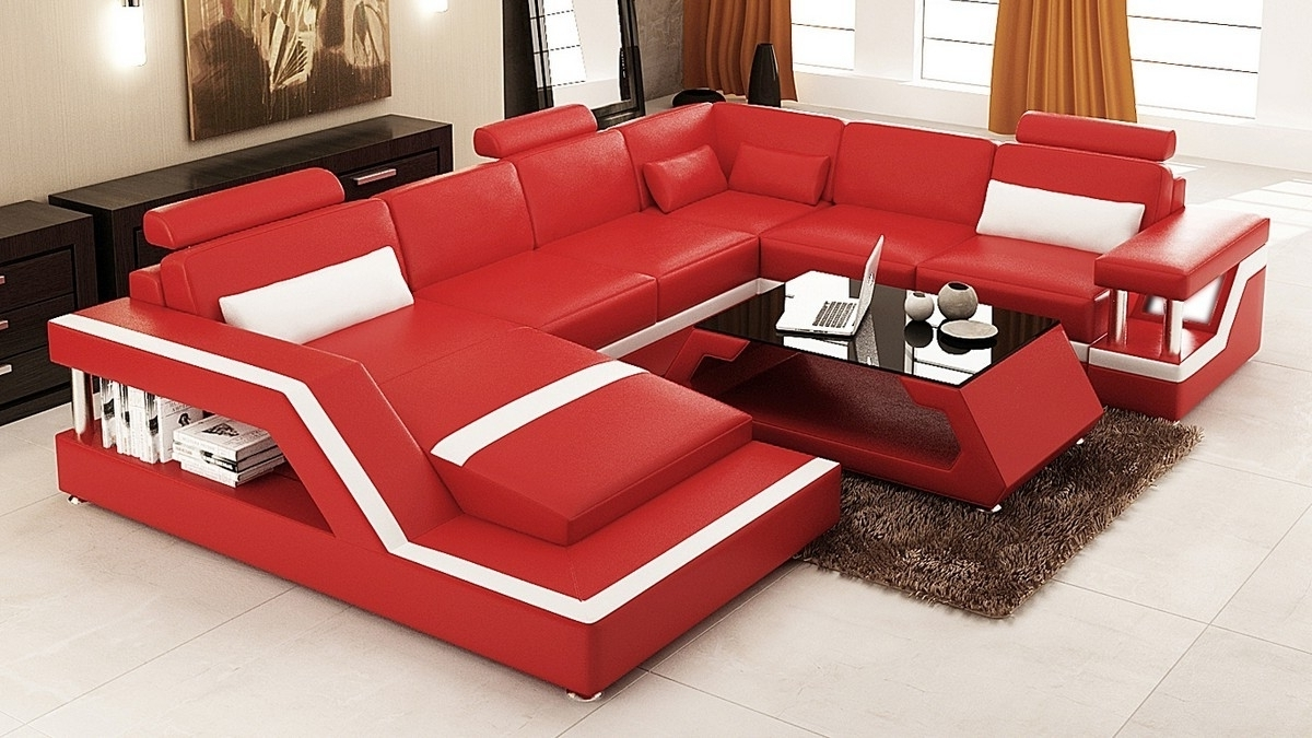 Modern Red Leather Sectional Sofa • Leather Sofa In 2019 Red Sectional Sofas (View 9 of 20)