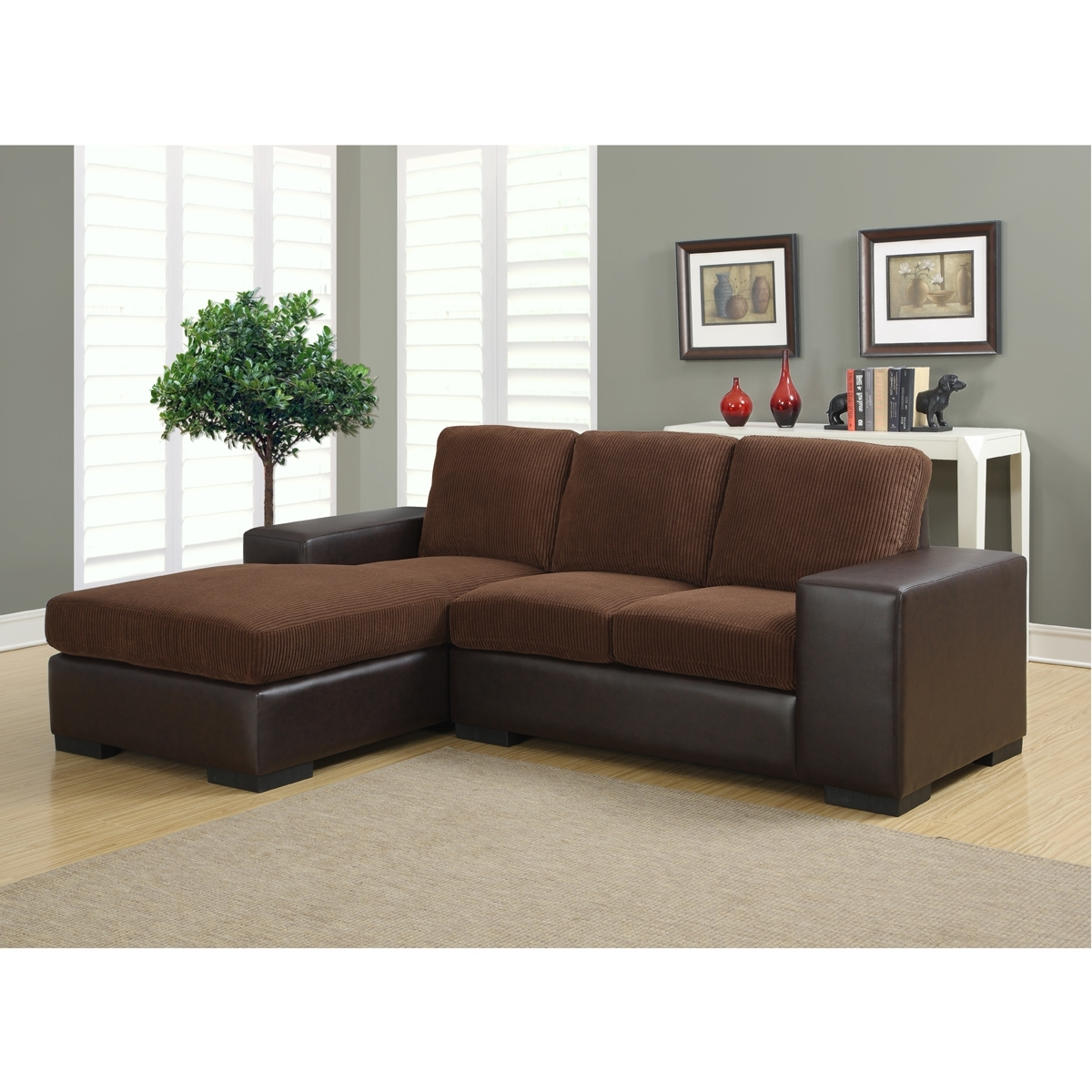 Modern Sectional Sofas In Brown Corduroy With Regard To Famous Sectional Sofas For Condos (View 8 of 20)