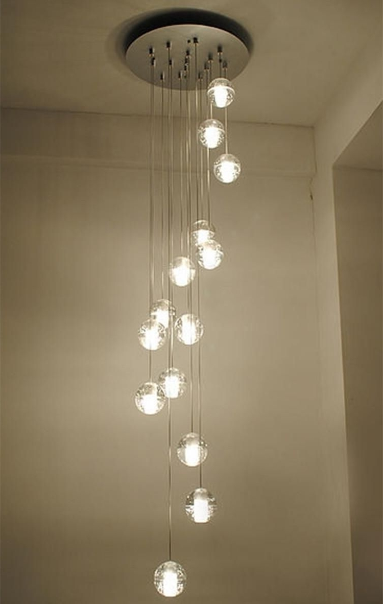 Modern Stairwell Led Chandelier Lighting Large Bubble Crystal Ball In Trendy Stairway Chandeliers (View 3 of 20)