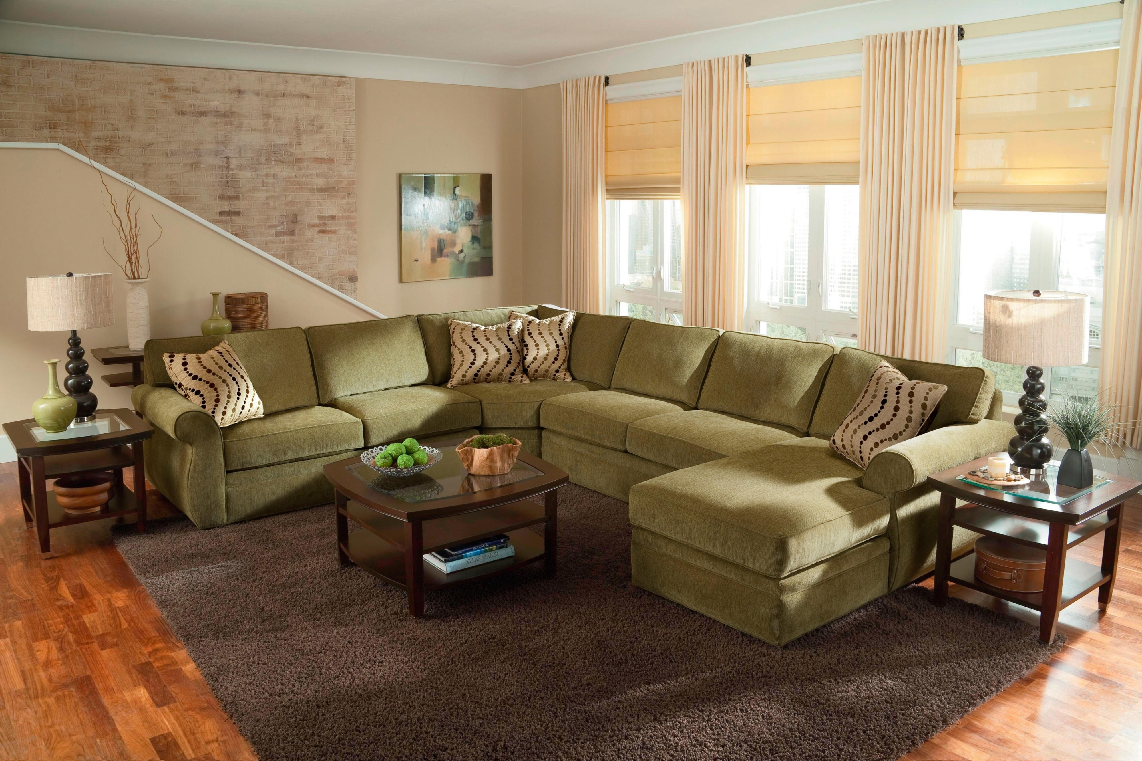 Modern U Shape Dark Olive Microfiber Sleeper Sofa Sectional Inside Newest The Bay Sectional Sofas (Gallery 19 of 20)