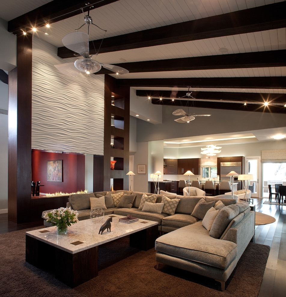 Modern U Shaped Sectional Sofas Pertaining To Newest U Shaped Sectional Sofa Family Room Contemporary With Arc Lamp (View 5 of 20)