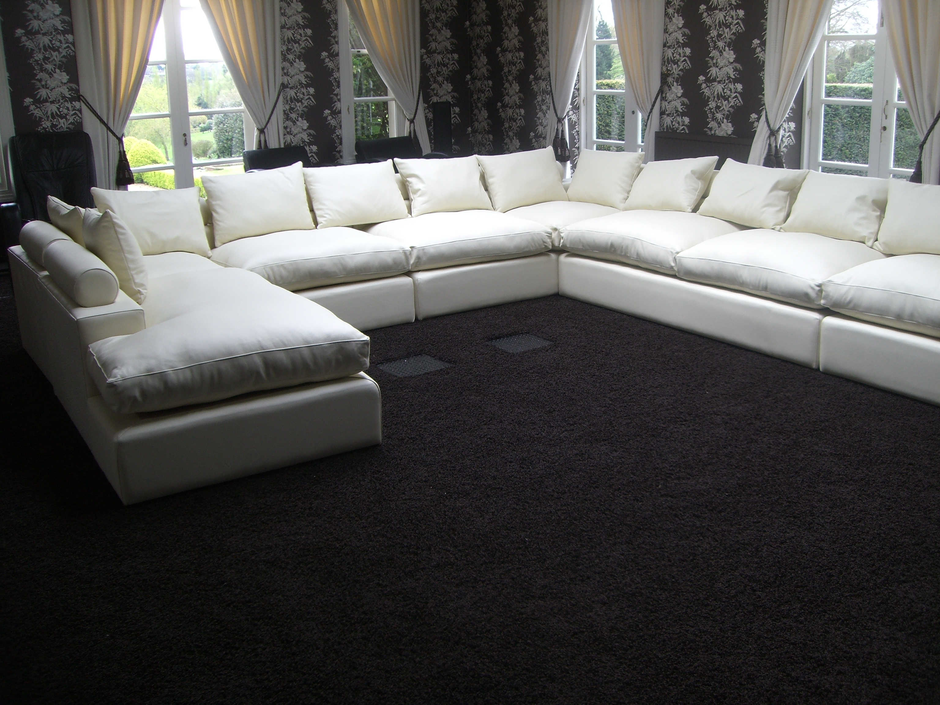 Modern U Shaped Sectionals Pertaining To Most Recently Released Sofa : Winsome U Shaped Fabric Sofa Torukro Modern Set With Bed (View 15 of 20)