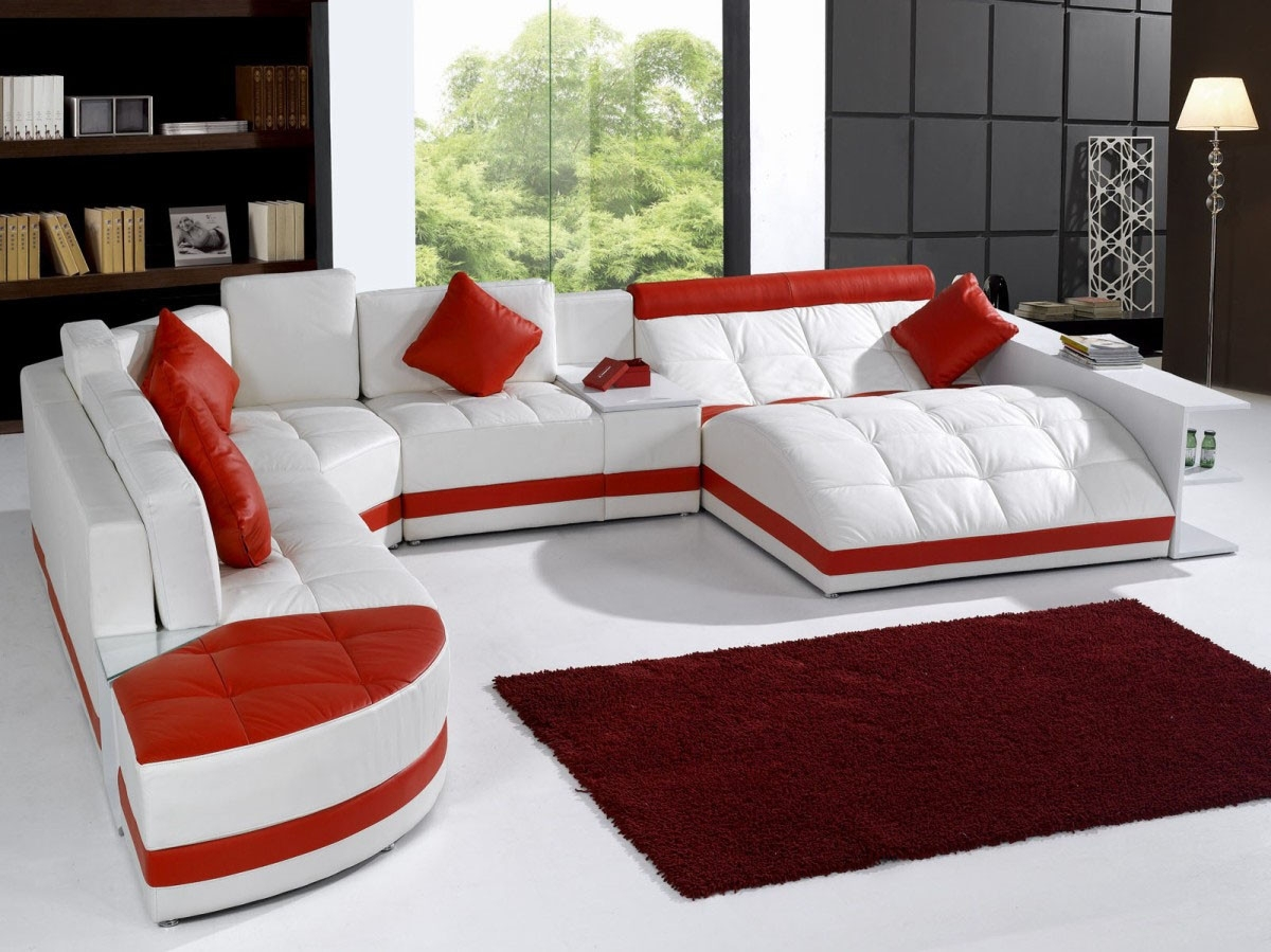 Modern White And Red Leather Sectional Sofa Intended For Recent Red Sectional Sofas (View 13 of 20)