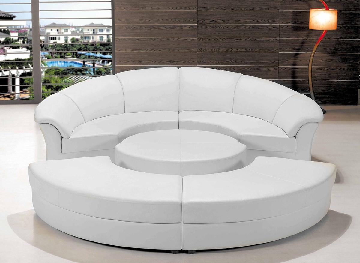 Modern White Leather Circular Sectional Sofa For Well Liked Circular Sectional Sofas (View 4 of 20)