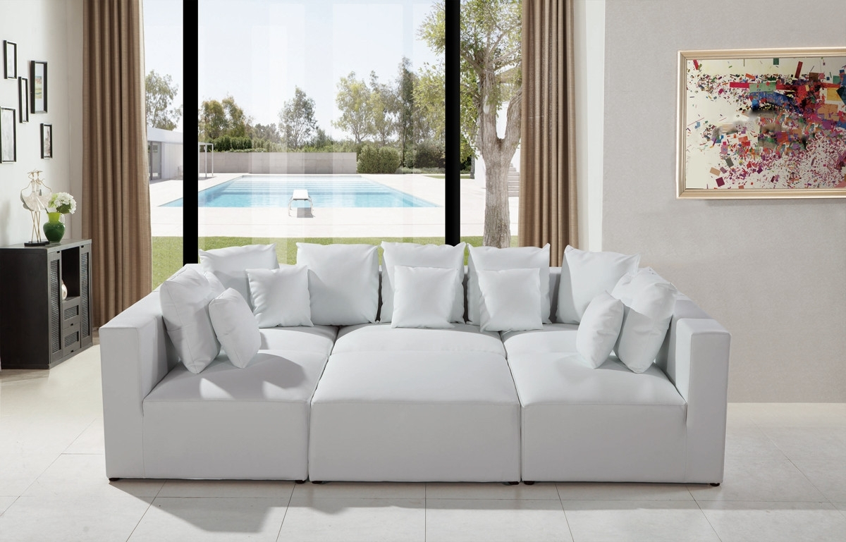 Modern White Leather Sectional Sofa Within Most Popular Sectional Sofas That Can Be Rearranged (View 11 of 20)