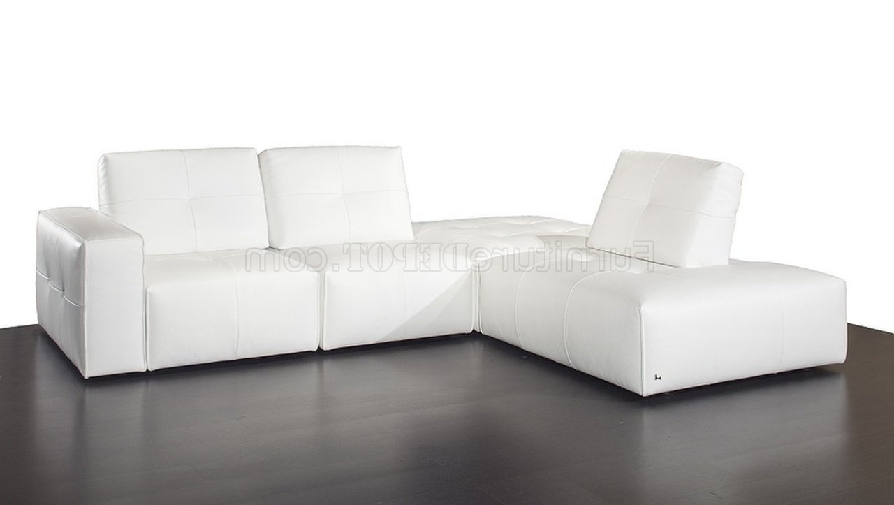 Modular Sectional Sofa In White Premium Leatherj&m Inside Well Liked Leather Modular Sectional Sofas (View 17 of 20)