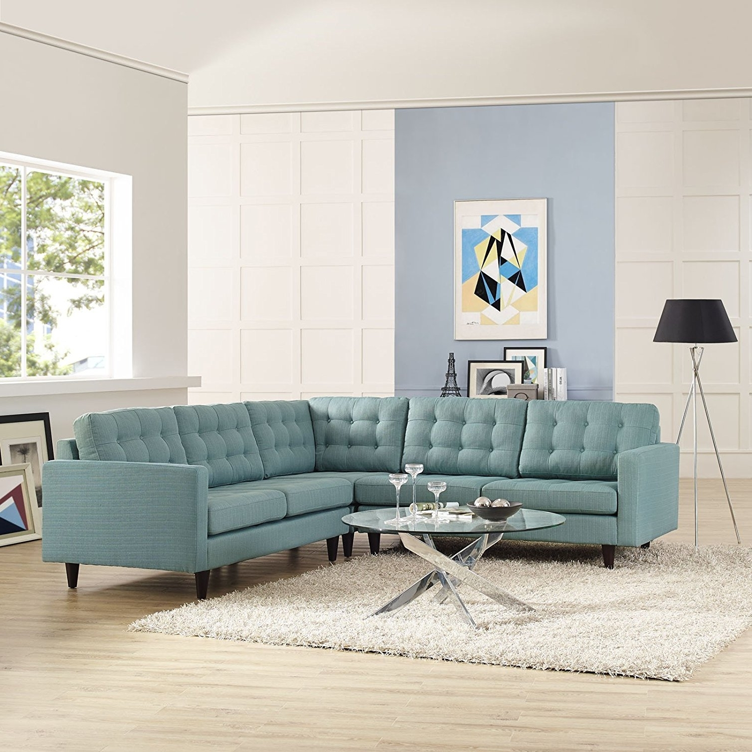 Modway Furniture Empress Modern Light Blue Fabric Sectional With Regard To Favorite Blue Sectional Sofas (View 14 of 20)