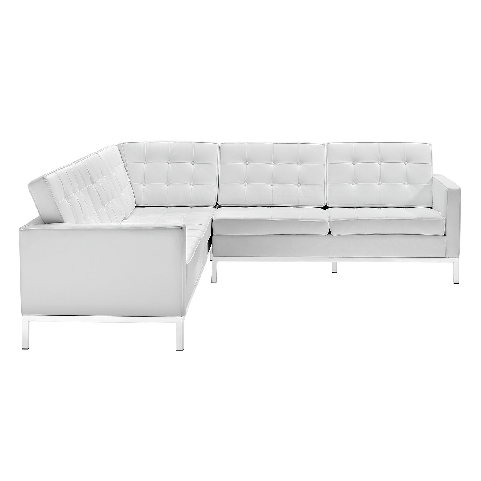 Modway Loft Leather L Shaped Sectional Sofa In White – Beyond Stores For Newest Leather L Shaped Sectional Sofas (View 16 of 20)