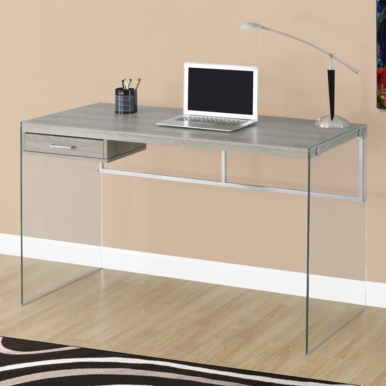 "Monarch Computer Desk 48""l / Glossy White / Tempered Glass With Regard To Fashionable Glass Computer Desks (View 11 of 20)"