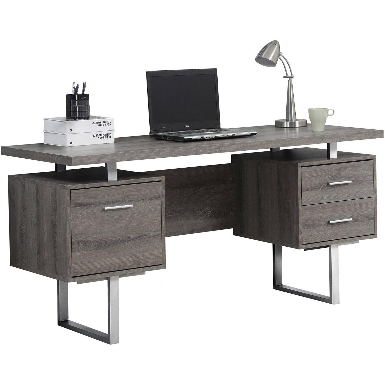 "Monarch Computer Desk 60""l / Dark Taupe / Silver Metal – Walmart With 2018 Grey Computer Desks (View 13 of 20)"