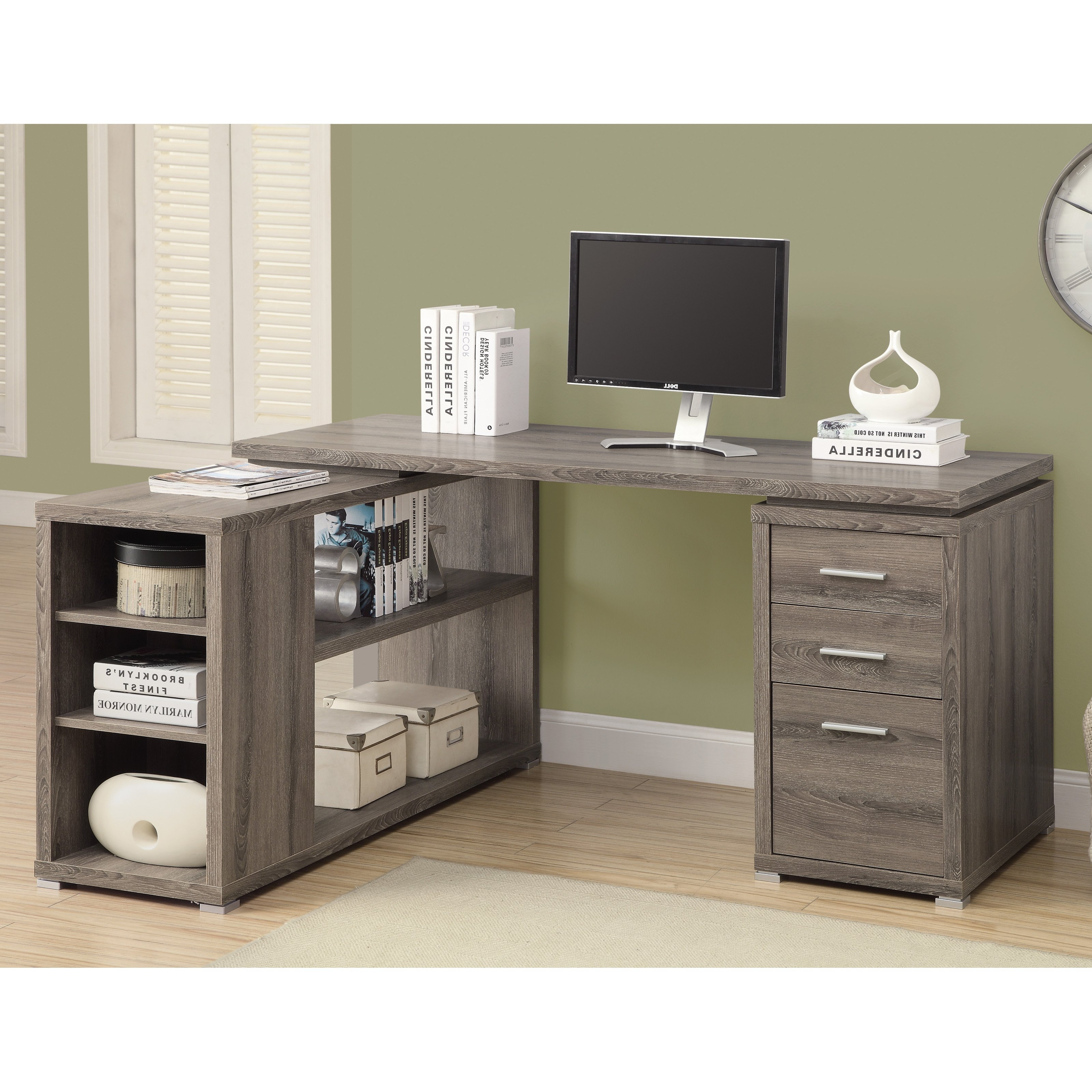 Monarch – Computer Desk – Dark Taupe Left Or Right Facing Corner Within Most Popular Grey Computer Desks (View 12 of 20)