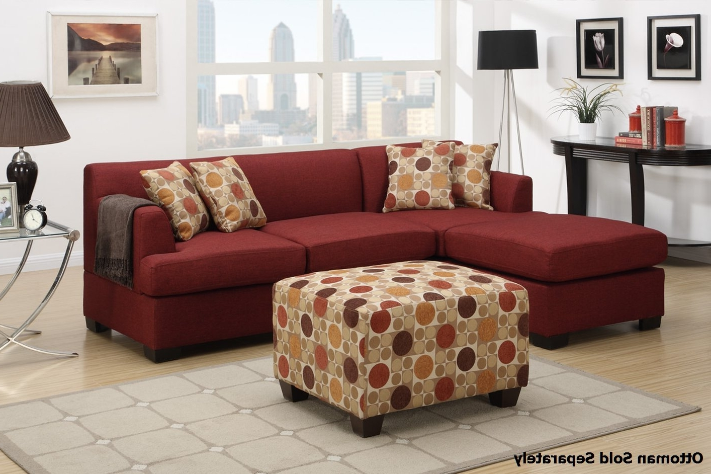 Montreal Ii Red Fabric Sectional Sofa – Steal A Sofa Furniture With Most Recent Red Sectional Sofas With Ottoman (View 6 of 20)