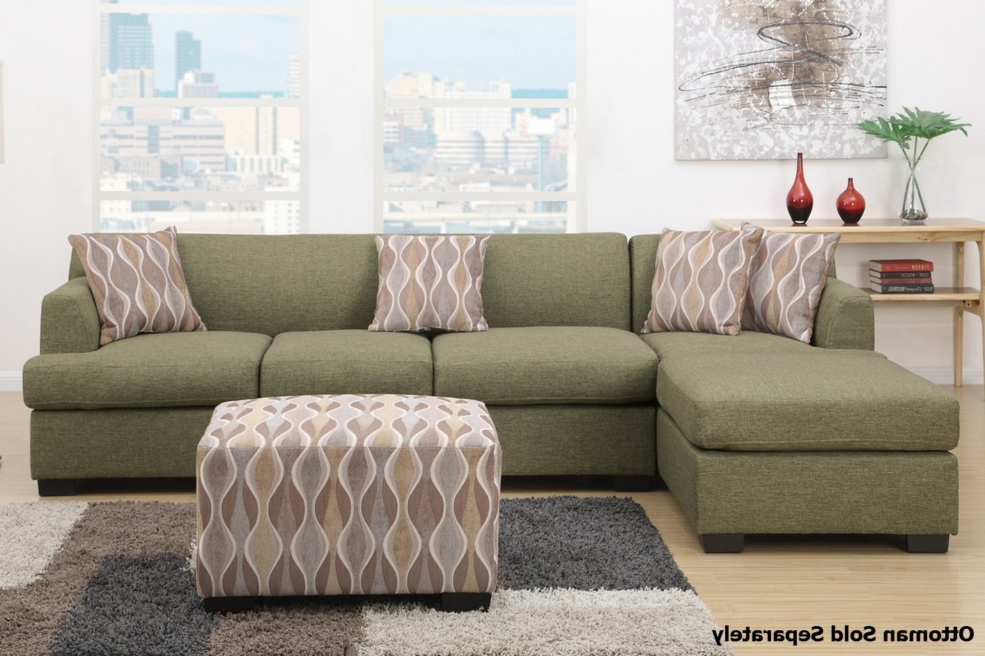 Montreal Iii Green Fabric Sectional Sofa – Steal A Sofa Furniture With Regard To Recent Green Sectional Sofas (View 13 of 20)