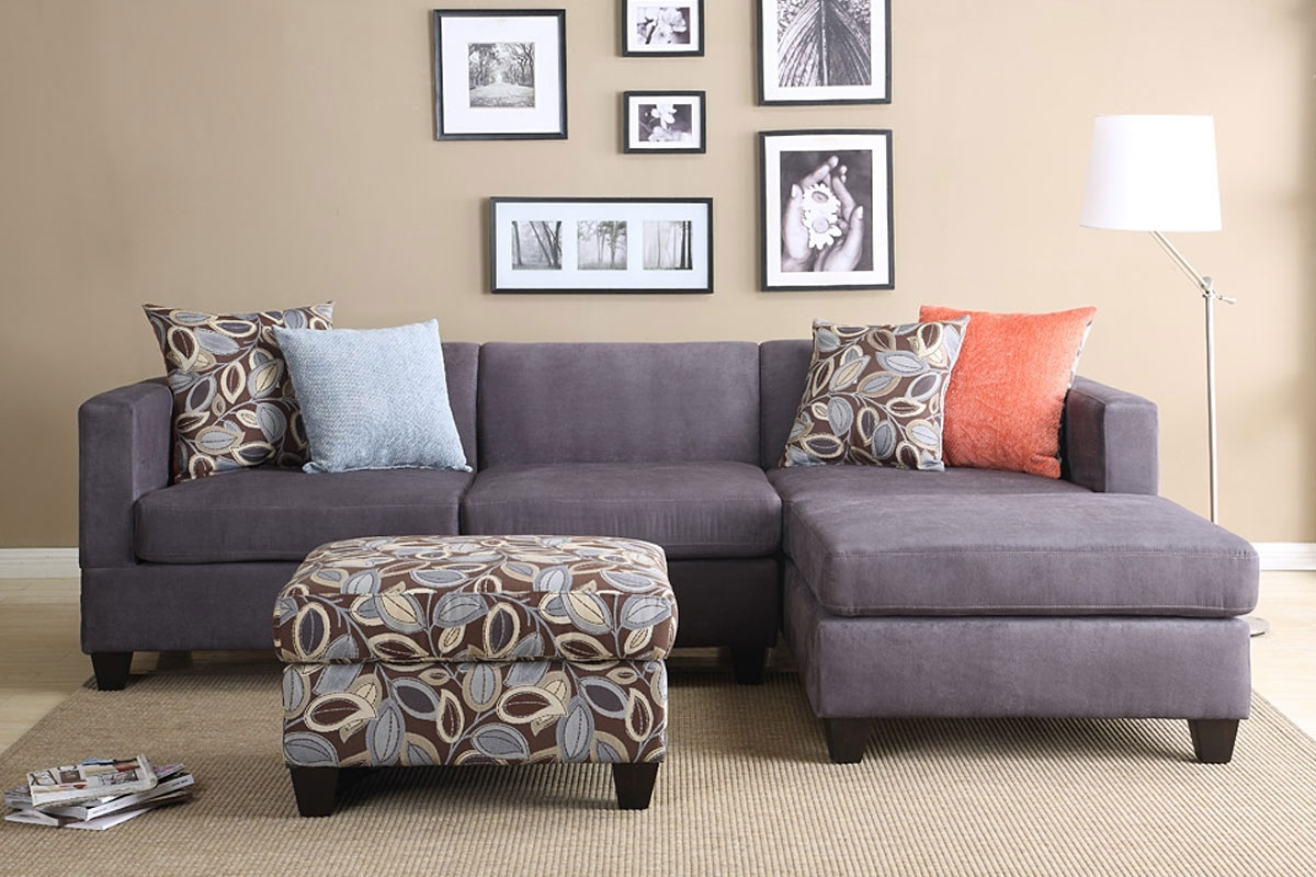 Most Current 2Pc Smooth Charcoal Microfiber Pillow Reversible Chaise Sectional Throughout Affordable Sectional Sofas (View 12 of 20)