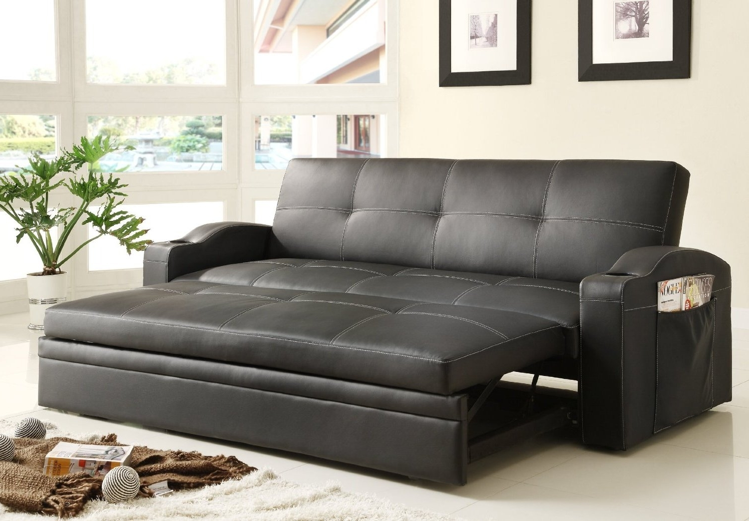 Most Current Adjustable Queen Size Sofa Bed Black Color Upholstered In Black Bi Pertaining To Queen Size Sofas (View 8 of 20)