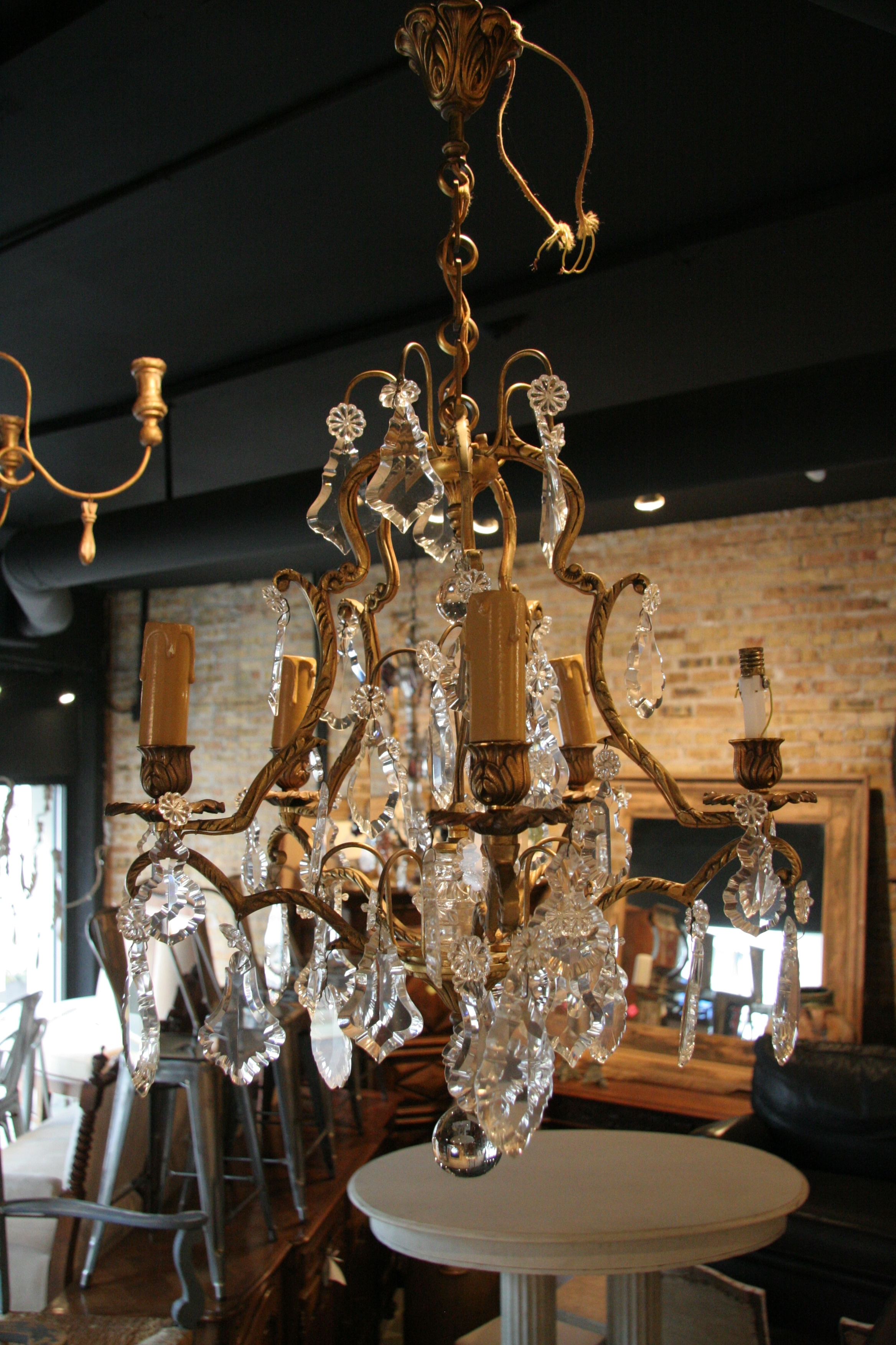 Most Current Antique French 5 Light Brass And Crystal Chandelier – Sold – Inside Vintage Brass Chandeliers (View 7 of 20)
