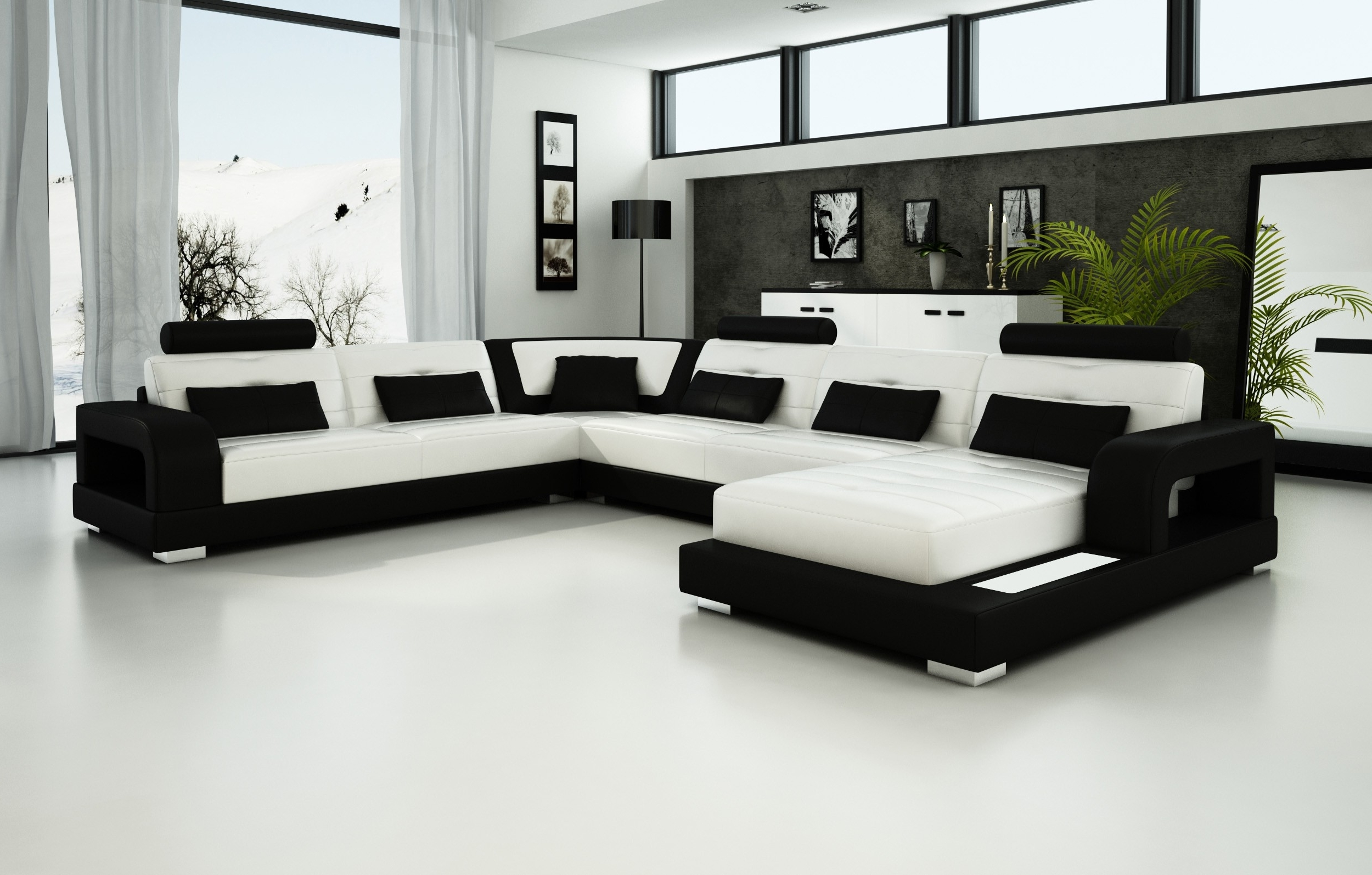 Most Current Black And White Sofas With Regard To Olympian Sofas Pesaro White Black Leather Sofa – Sectional Sofas (View 1 of 20)