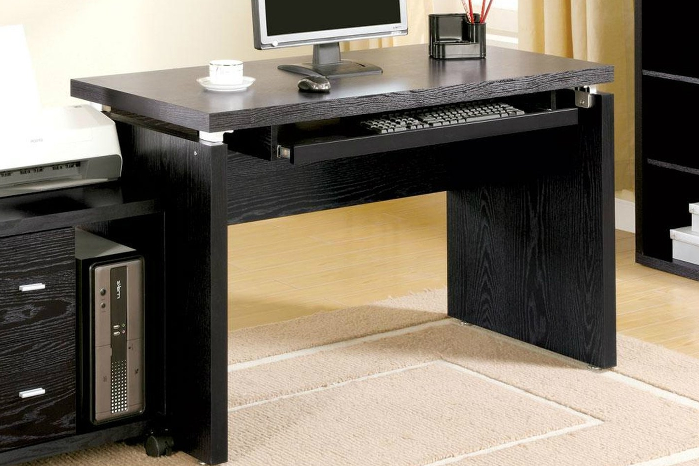 Most Current Black Computer Desks With Regard To Black Wood Computer Desk – Steal A Sofa Furniture Outlet Los (View 7 of 20)