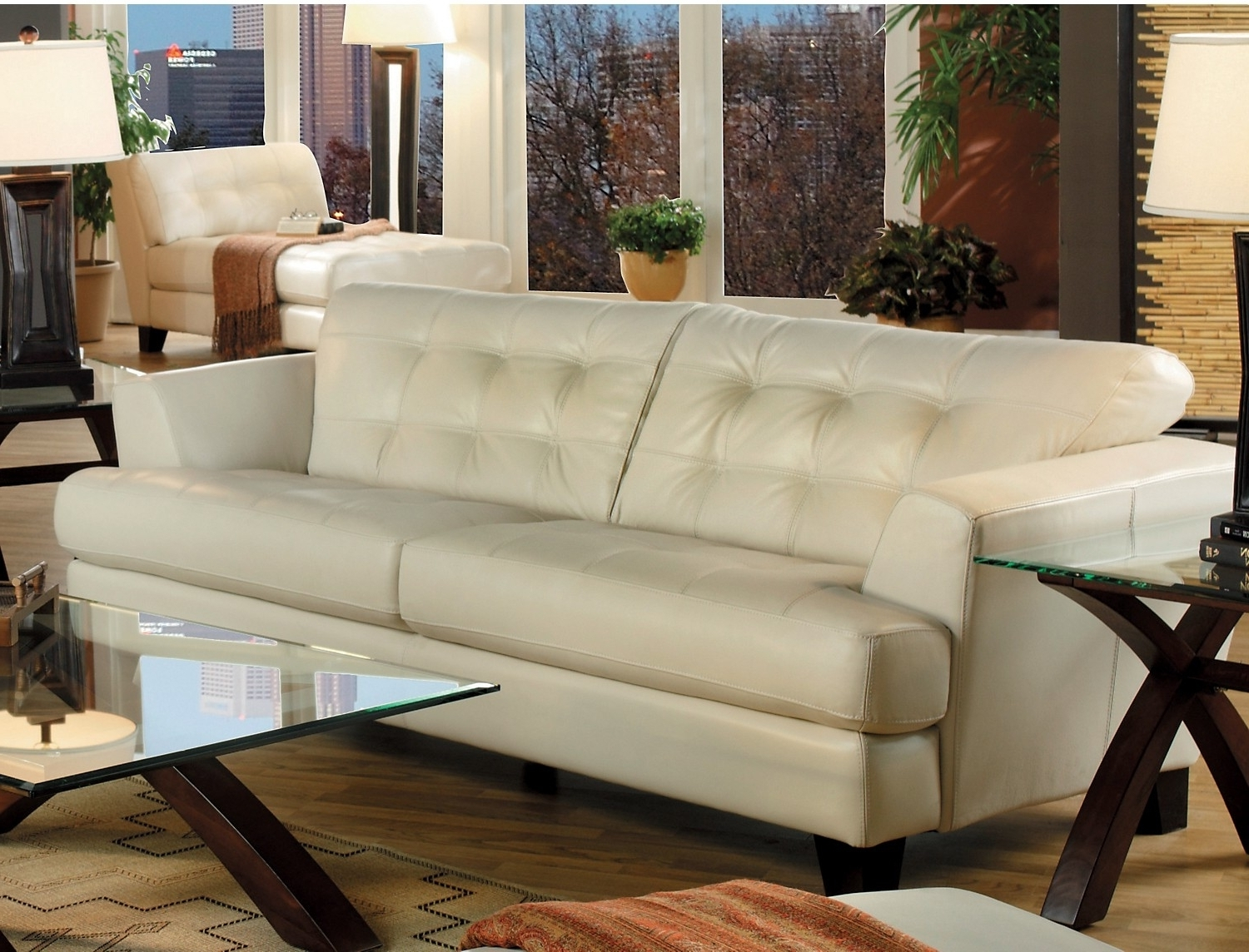 Most Current Cindy Crawford Sofas For Main Floor. Avenue Genuine Leather Sofa – Ivory (Gallery 9 of 20)