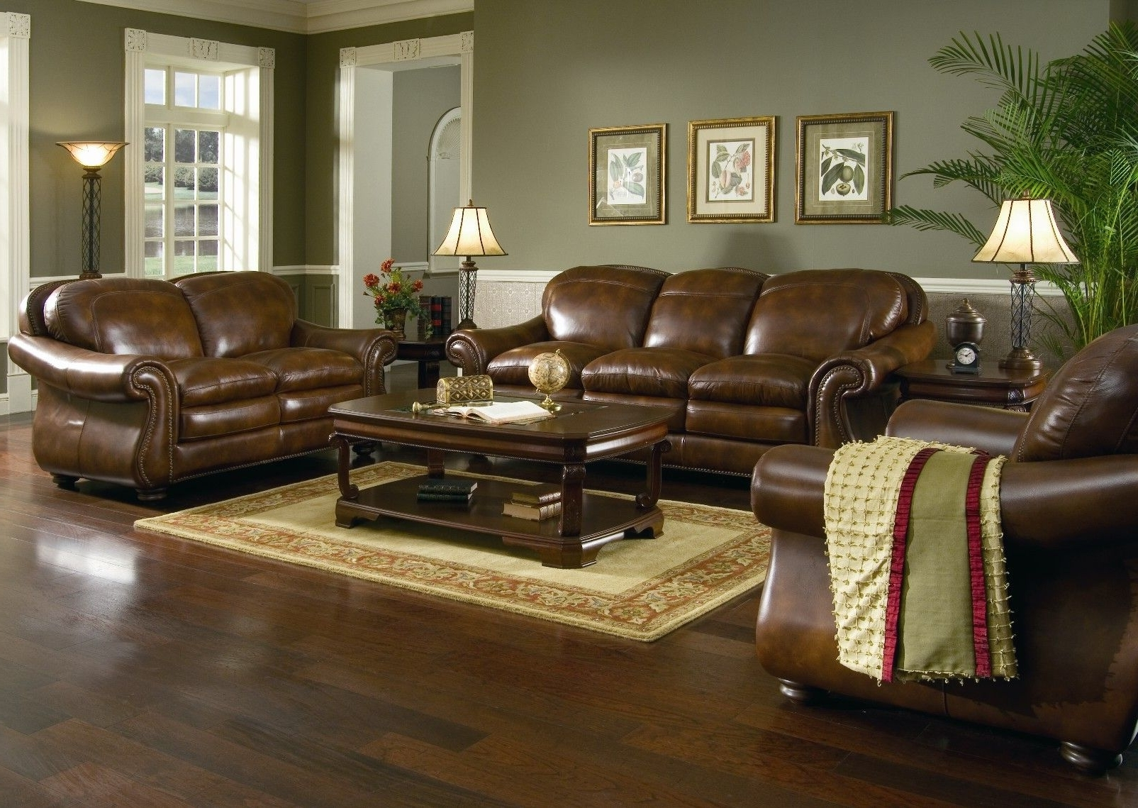 Most Current Colorful Sofas And Chairs For Brown Leather Sofa Set For Living Room With Dark Hardwood Floors (View 11 of 20)