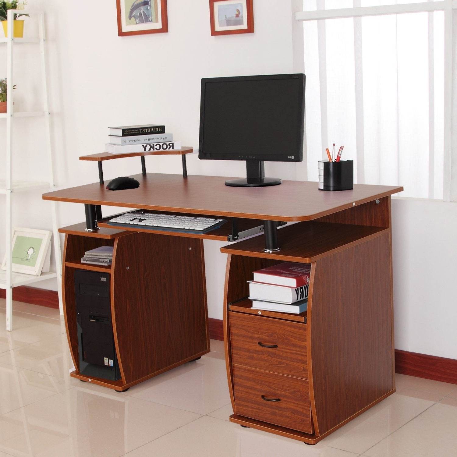 Most Current Computer Desks With Printer Shelf Within 73 Most Bang Up Bedroom Desk L Black Computer With Drawers Corner (View 13 of 20)