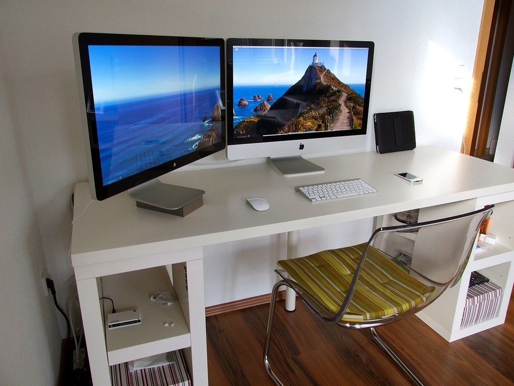 Most Current Enticing Cool Computer Tables With White Wooden Computer Table Be For Computer Desks For Two Monitors (View 16 of 20)