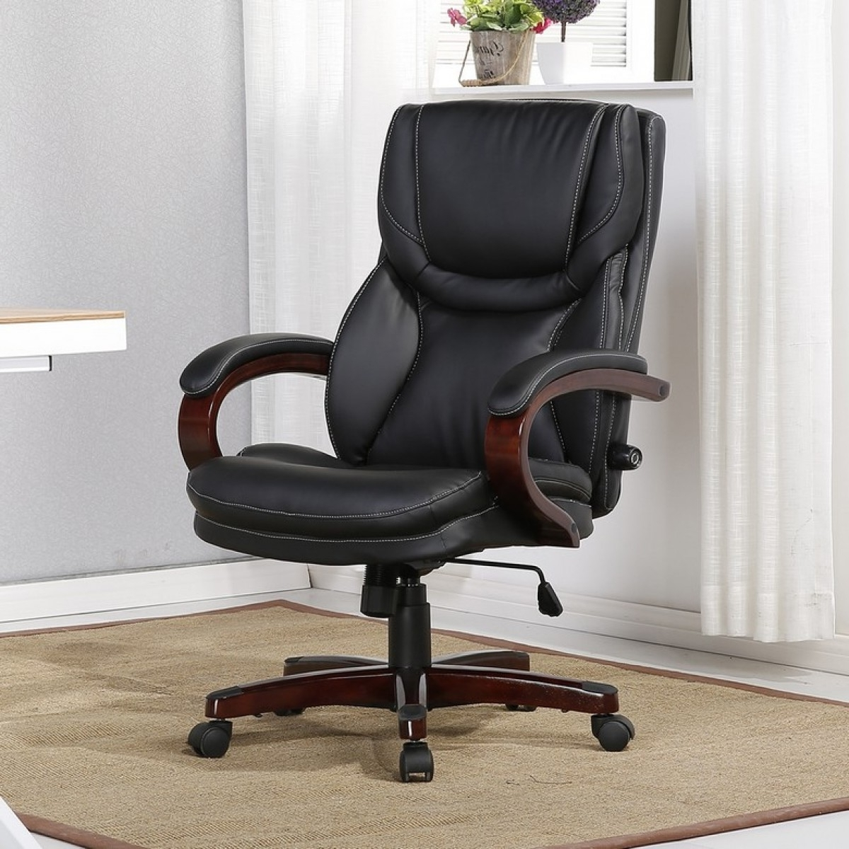 Most Current Executive Office Desk Chair Seats W/adjustable Lumbar Support Back Within Leather Swivel Recliner Executive Office Chairs (View 10 of 20)
