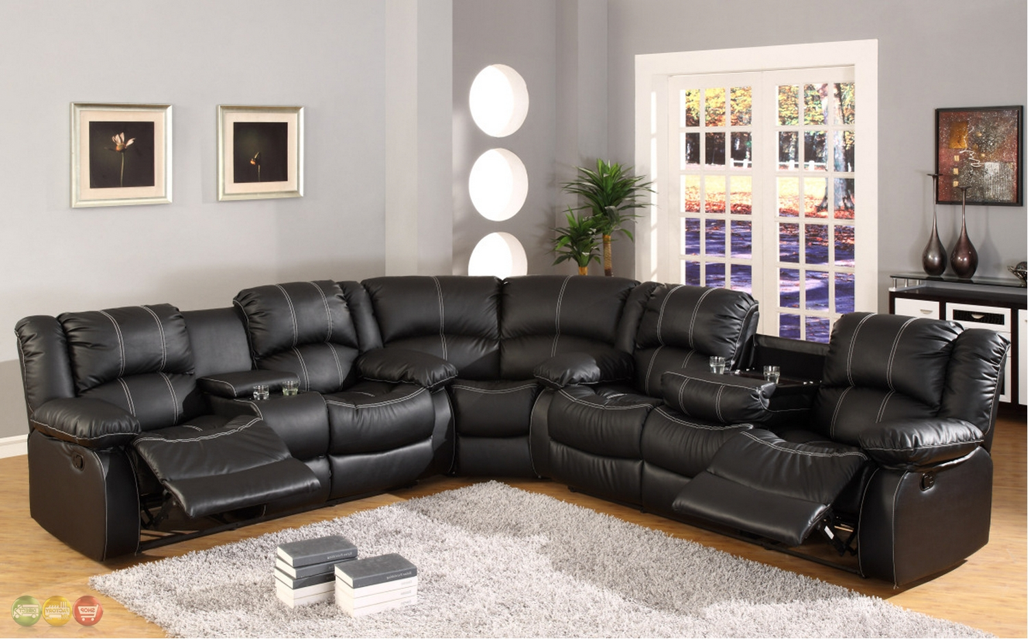 Most Current Faux Leather Sectional Sofas Throughout Black Faux Leather Reclining Motion Sectional Sofa W/ Storage (View 10 of 20)