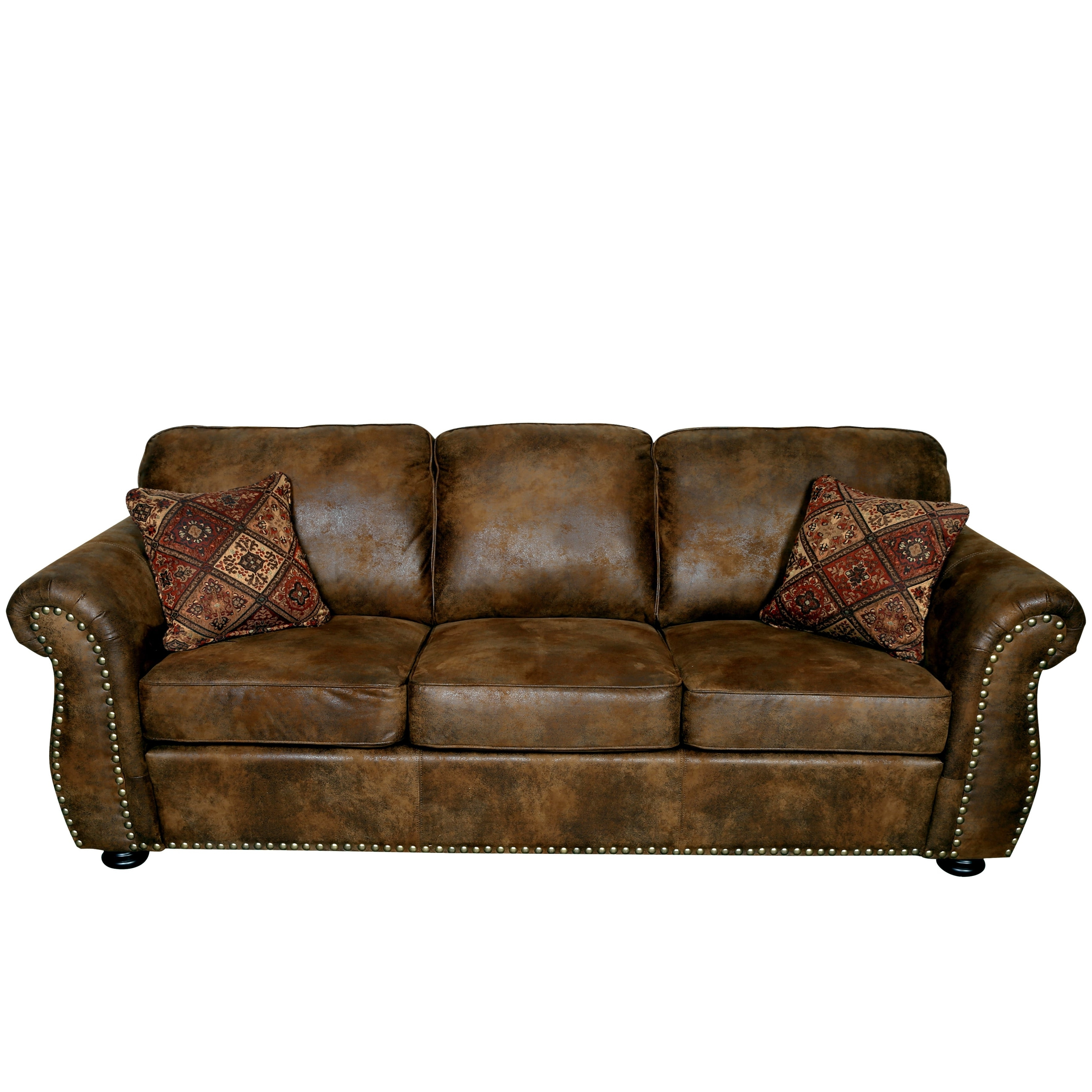Most Current Faux Suede Sofas Throughout Porter Elk River Brown Microfiber Faux Suede Leather Sofa With  (View 13 of 20)