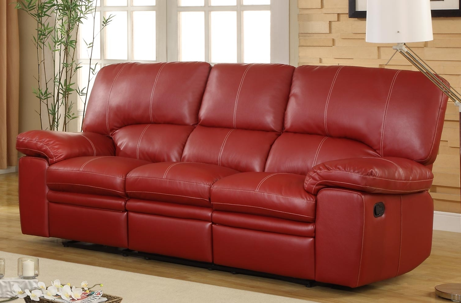 Most Current Homelegance Kendrick Double Recliner Sofa – Red – Bonded Leather Pertaining To Red Leather Reclining Sofas And Loveseats (View 8 of 20)