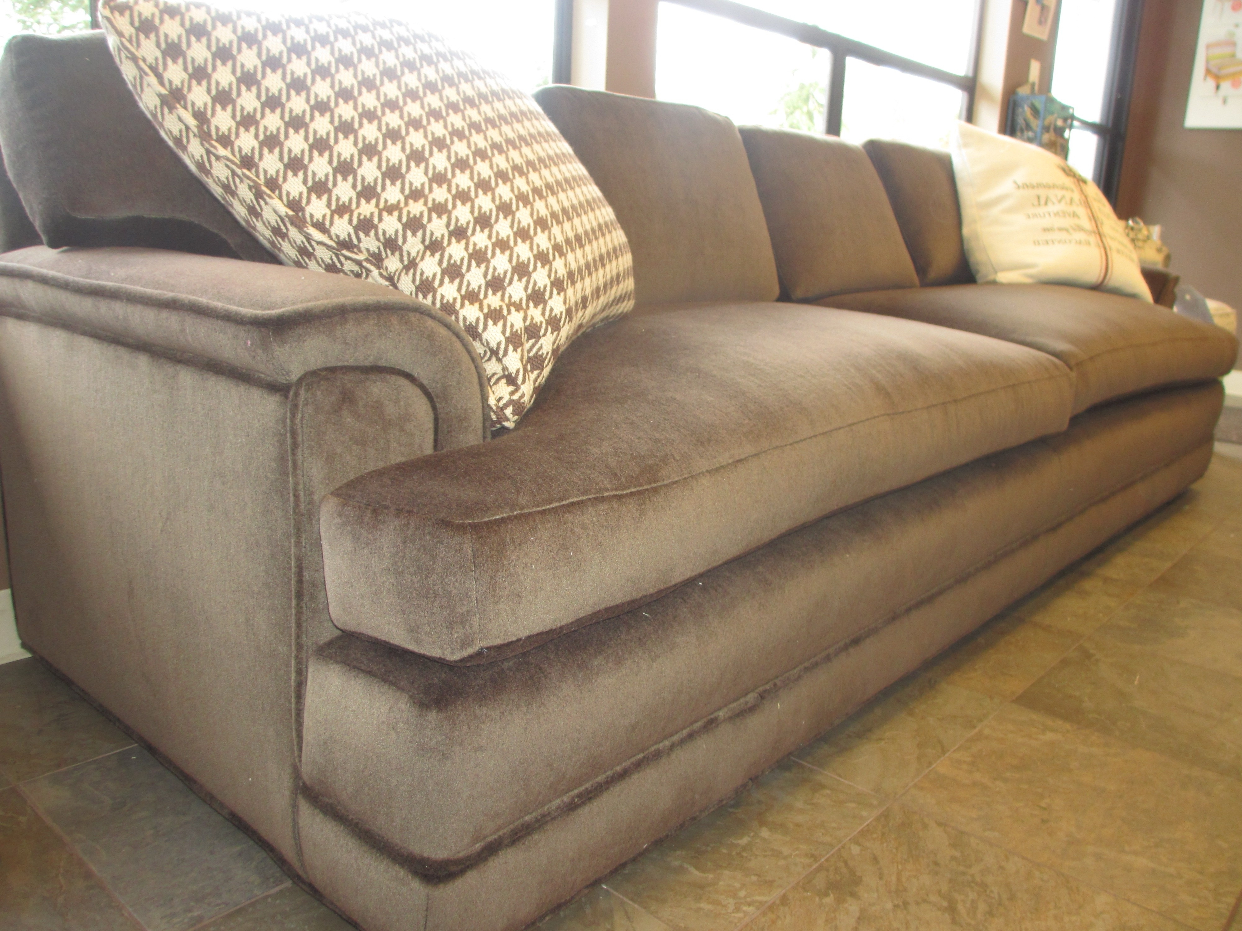 Most Current Large Comfortable Sectional Sofas Pertaining To Elegant White Microfiber Love Seat With Short Brown Wooden Legs (View 13 of 20)
