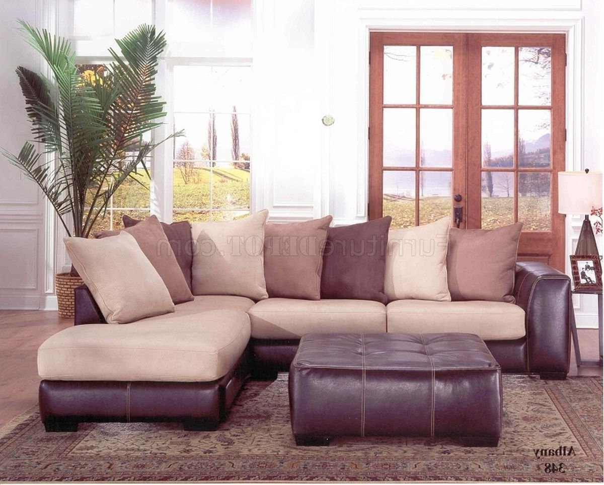 Most Current Leather And Cloth Sofas Intended For Laredo Mocha Bycast Leather & Hazelnut Fabric Sectional Sofa (View 14 of 20)