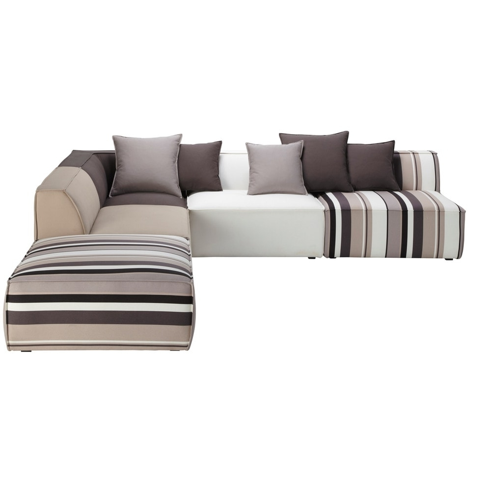 Most Current Modular Corner Sofas Regarding 5 Seater Cotton Modular Corner Sofa, Striped (View 17 of 20)