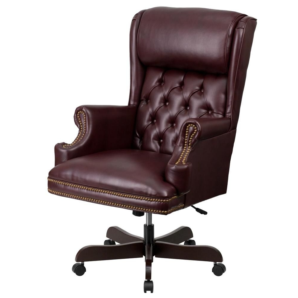 Most Current Red Leather Executive Office Chairs Pertaining To High Back Traditional Tufted Burgundy (Red) Leather Executive (View 8 of 20)