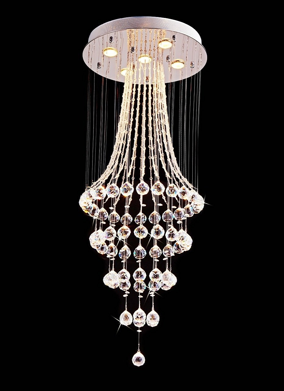 Most Current Saint Mossi® Crystal Rain Drop Chandelier Modern & Contemporary Intended For Sparkly Chandeliers (View 7 of 20)