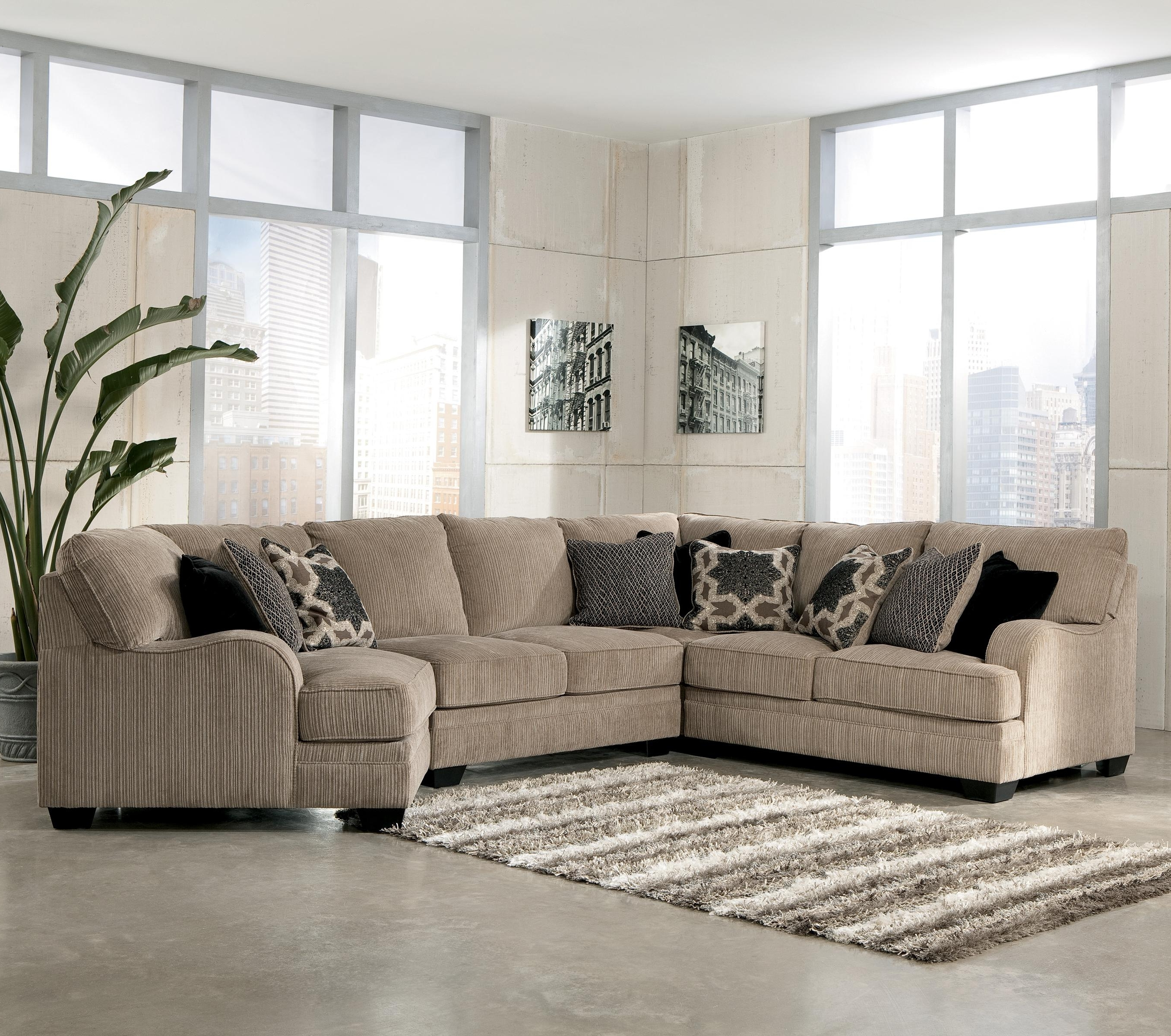 Most Current Sectional Sofas With Cuddler Within Signature Designashley Katisha – Platinum 4 Piece Sectional (View 9 of 20)