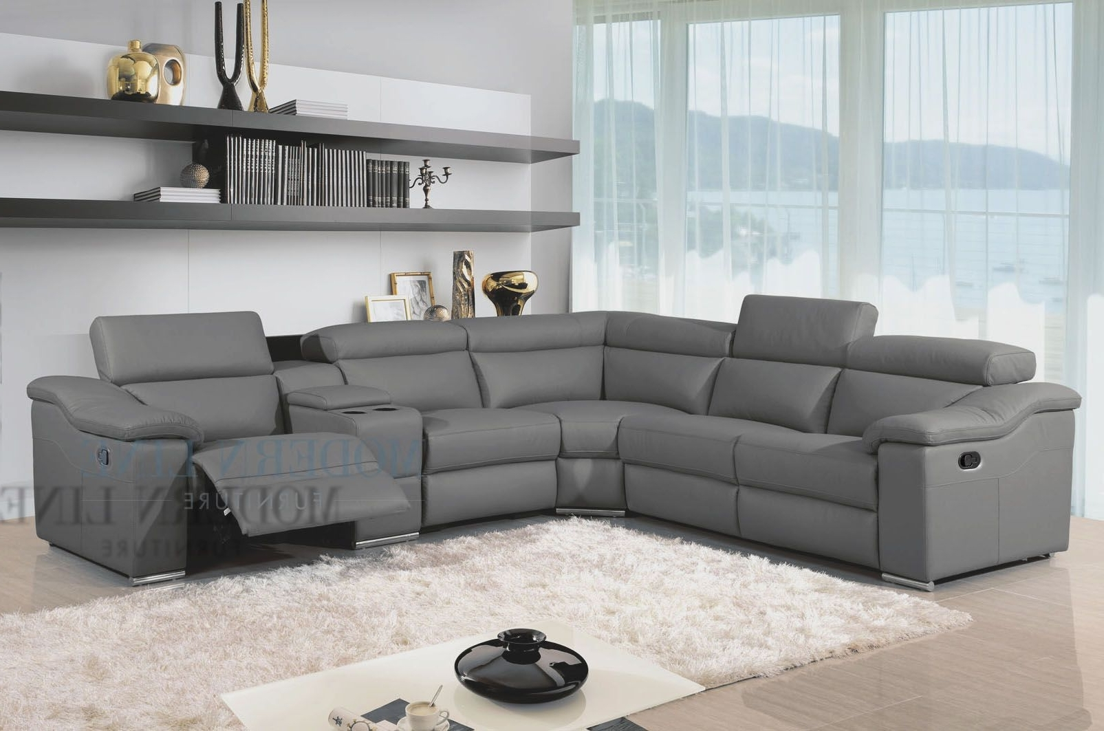 Most Current Sectional Sofas With Recliners Leather Intended For Awesome Great Charcoal Grey Sectional Sofa 29 About Remodel Home (View 4 of 20)