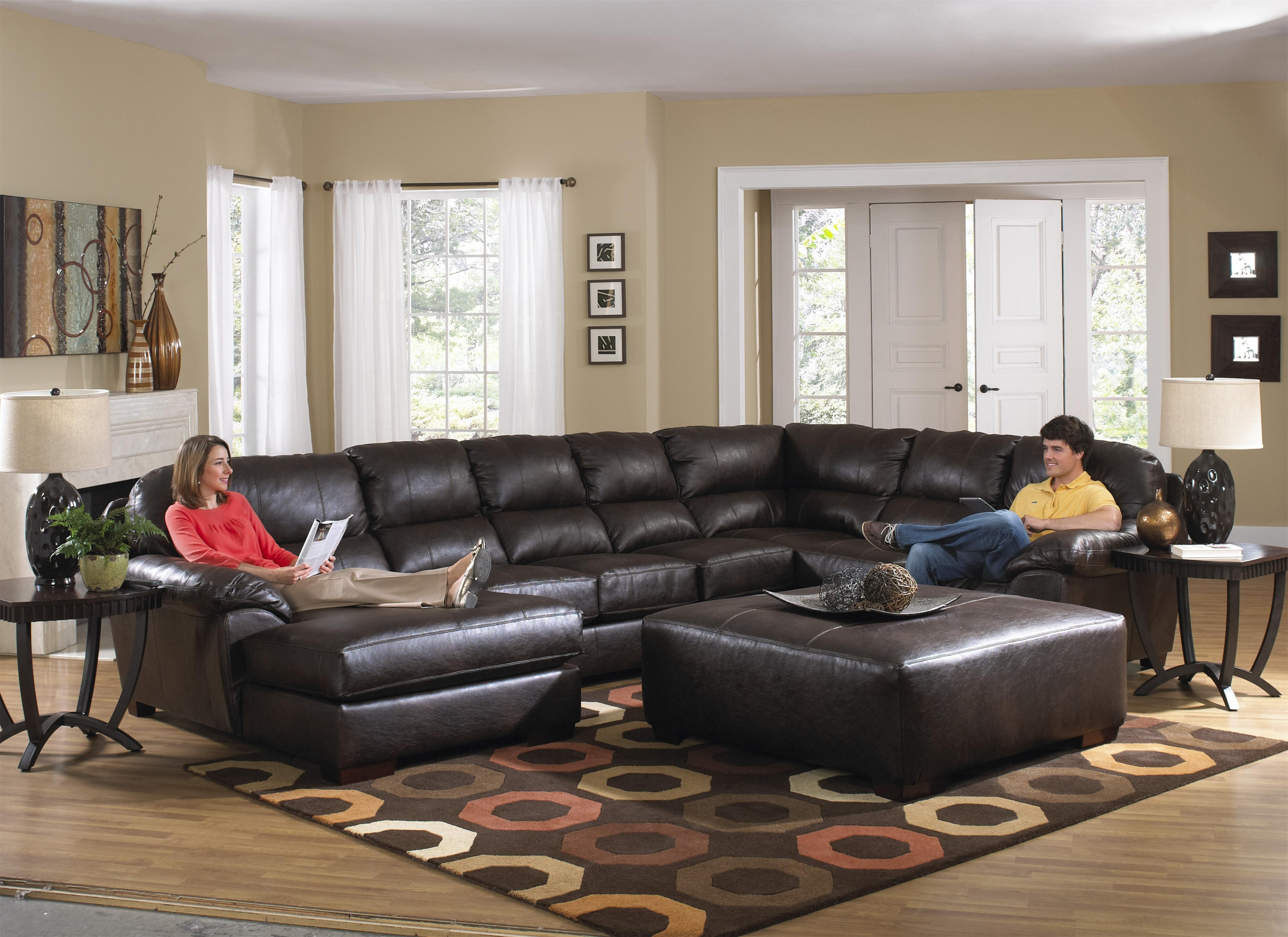Most Current Sofa : Graceful Large Sectional Sofa With Chaise Leather Sofas Within Leather Sectionals With Chaise And Ottoman (View 16 of 20)