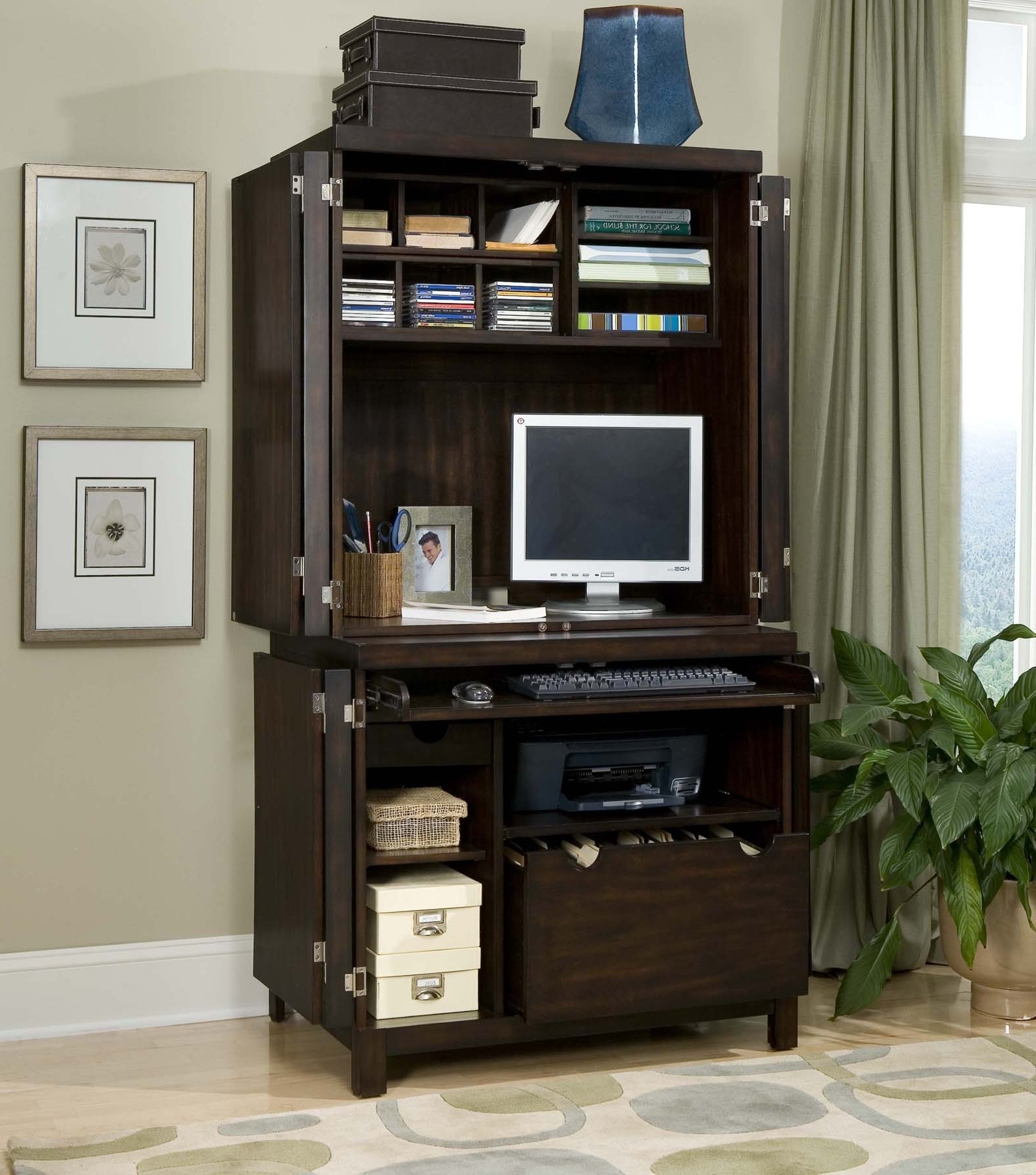 Most Current Stunning Compact Computer Desk Compact Computer Desk With Hutch In Computer Desks With Doors (View 14 of 20)
