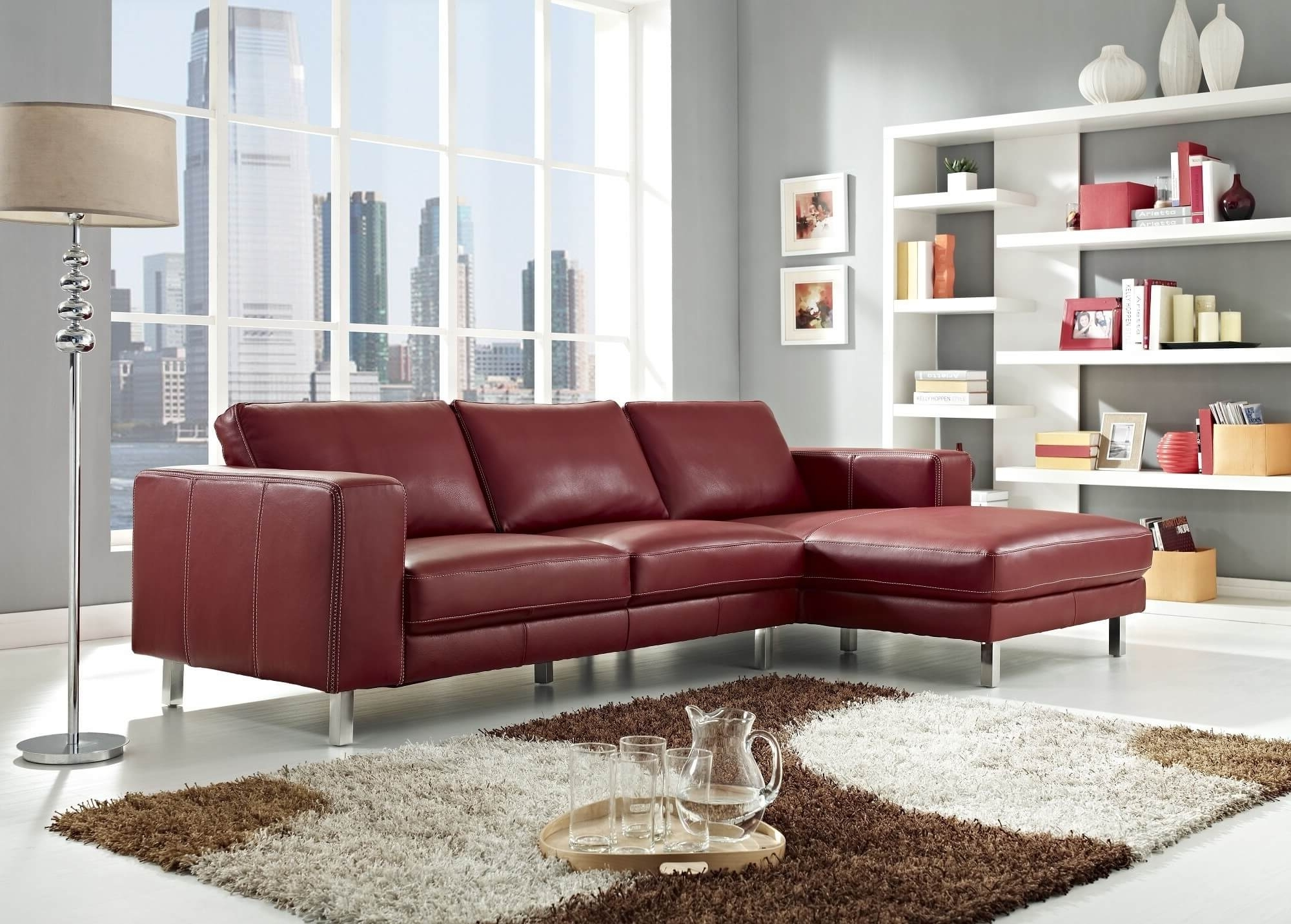 Most Current Stylish Modern Red Sectional Sofas Intended For Red Leather Couches For Living Room (View 11 of 20)